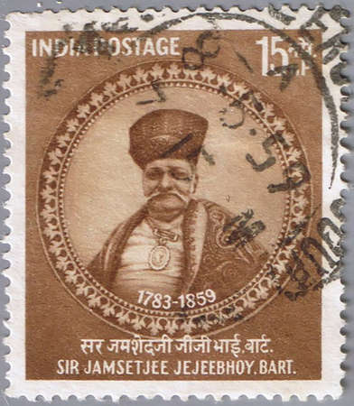 INDIA - CIRCA 1959: A stamp printed in India shows a portrait of the Indian philanthropist Jamsetjee  Jejeebhoy , circa 1959 photo