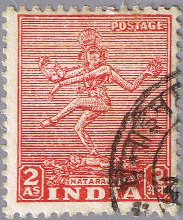 nataraja: INDIA - CIRCA 1949: A stamp printed in India shows nataraja, series, circa 1949