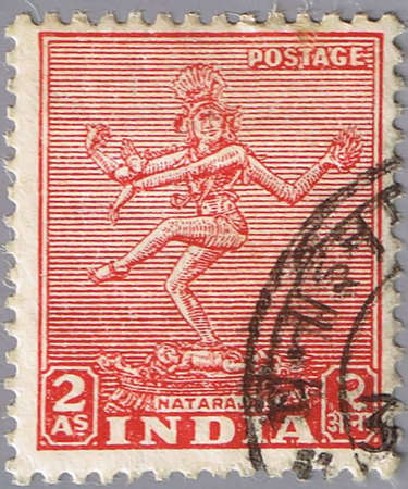 INDIA - CIRCA 1949: A stamp printed in India shows nataraja, series, circa 1949