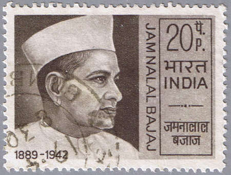 INDIA - CIRCA 1970: A stamp printed in India shows a portrait of the Indian patriot Jamnalal Bajaj, circa 1970 Stock Photo - 7883849