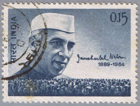 prime: INDIA - CIRCA 1964: A stamp printed in India shows a portrait Prime Minister of Jawaharlal Nehru, circa 1964