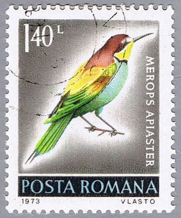 ROMANIA – CIRCA 1973 : A stamp printed in Romania shows Merops apiaster, series, circa 1973 Stock Photo - 7883756