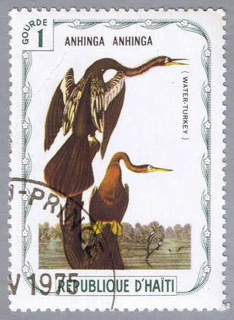 HAITI � CIRCA 1975: A stamp printed in Haiti shows Water-turkey, series devoted to the birds, circa 1975 Stock Photo - 7883810
