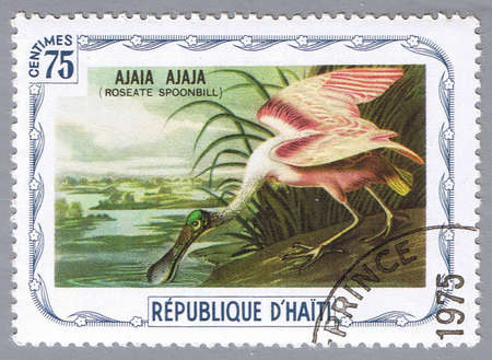 HAITI - CIRCA 1975: A stamp printed in Haiti shows Roseate spoonbill, series devoted to the birds, circa 1975 Stock Photo