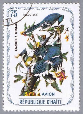HAITI � CIRCA 1975: A stamp printed in Haiti shows Blue Jay, series devoted to the birds, circa 1975 photo