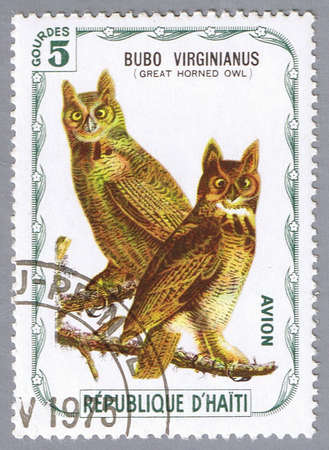 HAITI � CIRCA 1975: A stamp printed in Haiti shows Great horned owl, series devoted to the birds, circa 1975 photo