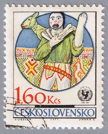 unicef: CZECHOSLOVAKIA - CIRCA 1971: A stamp printed in Czechoslovakia shows examples folk decorative art, devoted to 25-th anniversary of UNICEF, series, circa 1971