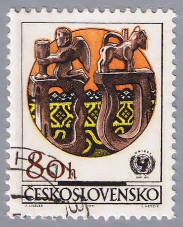 canceled: CZECHOSLOVAKIA - CIRCA 1971: A stamp printed in Czechoslovakia shows examples folk decorative art, devoted to 25-th anniversary of UNICEF, series, circa 1971