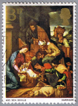 ascribed: GREAT BRITAIN - CIRCA 1967: A stamp printed in Great Britain shows painting of Ascribed to school of Seville – Adoration of shepherds, series, circa 1967