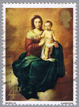 madonna: GREAT BRITAIN - CIRCA 1967: A stamp printed in Great Britain shows painting of Murillo � Madonna and Child, series, circa 1967 Stock Photo