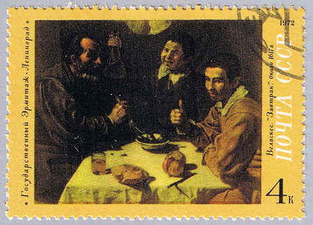 velazquez: USSR - CIRCA 1972: A stamp printed in USSR shows painting of Velazquez � Breakfast, a series of paintings of the Hermitage Museum, circa 1972 Stock Photo