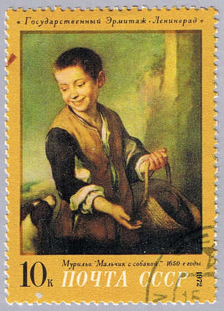 murillo: USSR - CIRCA 1972: A stamp printed in USSR shows painting of Murillo - Boy with dog, a series of paintings of the Hermitage Museum, circa 1972 Stock Photo