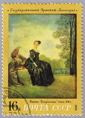 fantasque: USSR - CIRCA 1972: A stamp printed in USSR shows painting of Watteau - The Capricious Girl, a series of paintings of the Hermitage Museum, circa 1972