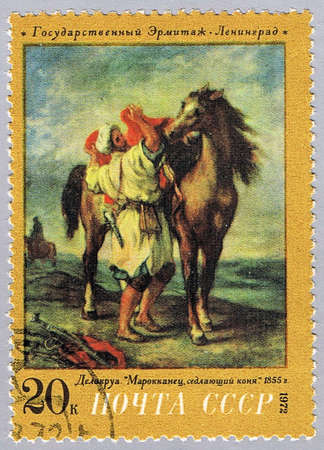 steed: USSR - CIRCA 1972: A stamp printed in USSR shows painting of Delacroix - Moroccan Saddling Steed, a series of paintings of the Hermitage Museum, circa 1972 Stock Photo