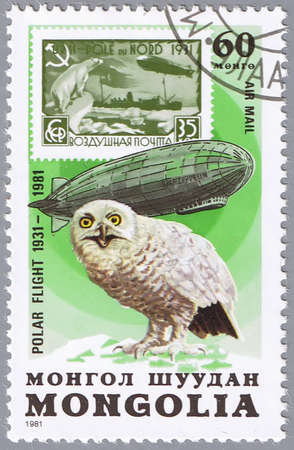 MONGOLIA - CIRCA 1981: A stamp printed in Mongolia shows a polar owl, a series devoted to the 50-th anniversary of flight and the airship  photo