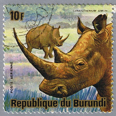 burundi: REPUBLIC OF BURUNDI - CIRCA 1975: A stamp printed in Republic of Burundi shows white rhinoceros, series, circa 1975 Stock Photo