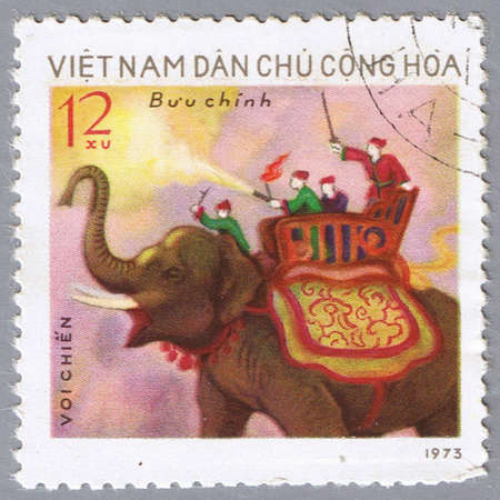 VIETNAM - CIRCA 1973: A stamp printed in Vietnam shows image of an elephant, series, circa 1973 photo