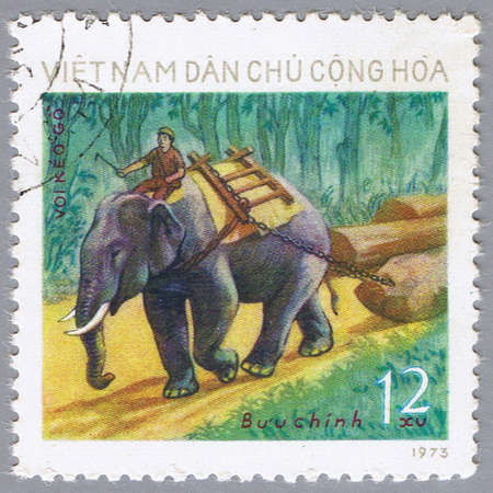 VIETNAM - CIRCA 1973: A stamp printed in Vietnam shows image of an elephant, series, circa 1973 Stock Photo