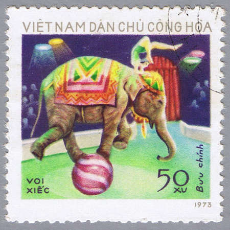 VIETNAM - CIRCA 1973: A stamp printed in Vietnam shows image of an elephant, series, circa 1973 Stock Photo - 7953492