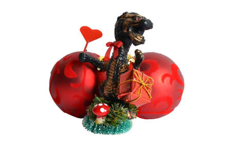 christmas dragon: Dragon bearing a gift for Christmas