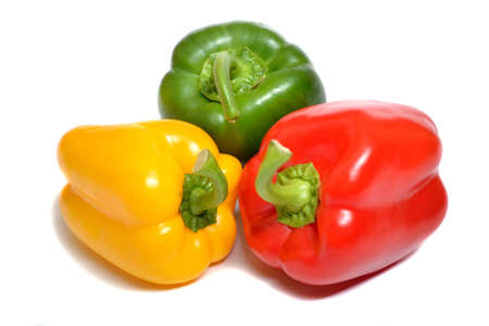 Fresh sweet peppers isolated on white  Stock Photo