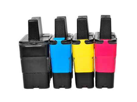 Ink cartridges on a white background