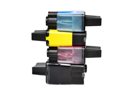 Ink cartridges isolated on white photo