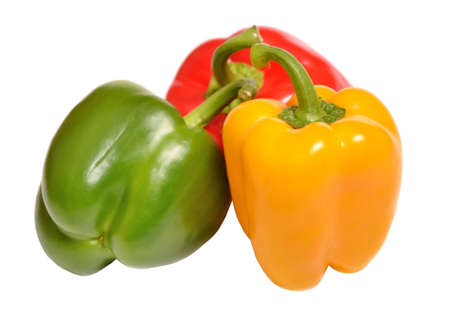 Fresh sweet peppers isolated on a white background photo