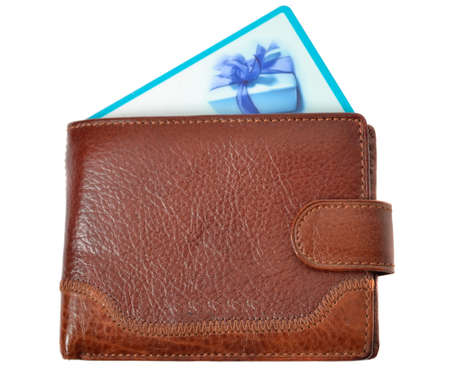 discount card: Brown wallet with discount card