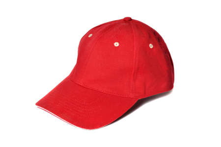 Red baseball cap isolated on white photo