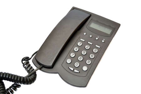 Black telephone on a white background Stock Photo