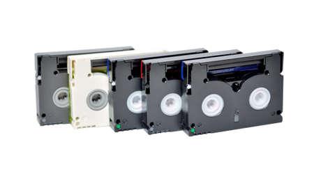 Mini DV cassettes on white background photo