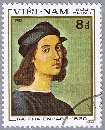 circa: VIETNAM - CIRCA 1983: A stamp printed in Vietnam shows a reproduction of Raphael paintings � Self-Portrait, series, circa 1983