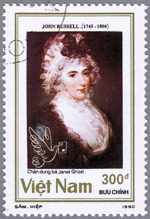 russell: VIETNAM - CIRCA 1990: A stamp printed in Vietnam shows a picture painted by John Russell -Janet Grizel, series, circa 1990 Stock Photo