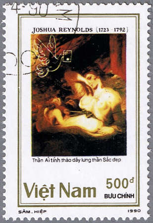 sir: VIETNAM - CIRCA 1990: A stamp printed in Vietnam shows a picture painted by Sir Joshua Reynolds - Love Untieing the Belt of Beauty, series, circa 1990