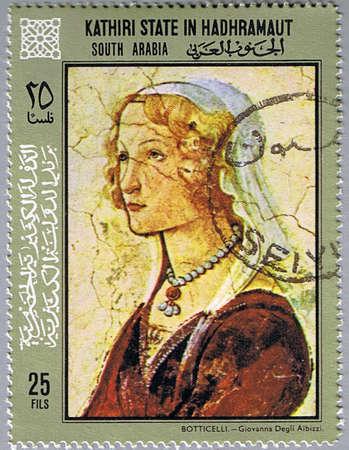 KATHIRI STATE IN HADHRAMAUT - CIRCA 1967: A stamp printed in Kathiri State in Hadhramaut shows painting of Sandro Botticelli - Portrait of Giovanna Degli Albizzi, series, circa 1967 Stock Photo - 8851427