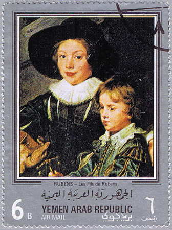YEMEN ARAB REPUBLIC - CIRCA 1968: A stamp printed in Yemen Arab Republic shows painting of Peter Paul Rubens - Artist's Sons Albert and Nicholas (detail), series, circa 1968 Stock Photo - 8851431