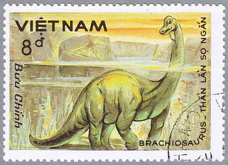 VIETNAM - CIRCA 1984: A stamp printed in Vietnam shows Brachiosaurus, series devoted to prehistoric animals, circa 1984
