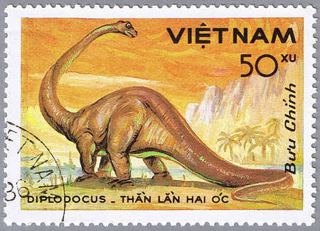 VIETNAM - CIRCA 1984: A stamp printed in Vietnam shows Diplodocus, series devoted to prehistoric animals, circa 1984 Stock Photo