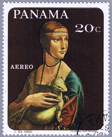 gronostaj: PANAMA - OK. 1967: Stempel drukowane w Panamie pokazuje malowania Leonardo da Vinci - Dama z gronostajem, serii, około 1967