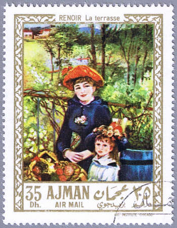 AJMAN - CIRCA 1967: A stamp printed in Ajman shows painting of Pierre-Auguste Renoir - On the Terrace, series, circa 1967 photo
