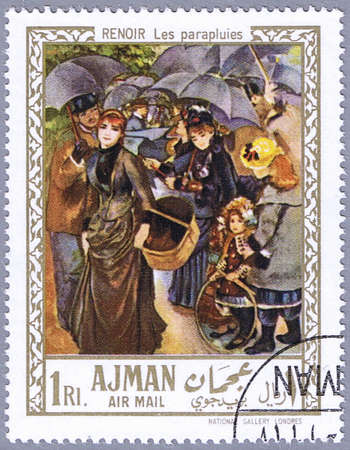 AJMAN - CIRCA 1967: A stamp printed in Ajman shows painting of Pierre-Auguste Renoir – The umbrellas, series, circa 1967 Stock Photo
