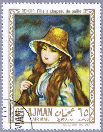 AJMAN - CIRCA 1967: A stamp printed in Ajman shows painting of Pierre-Auguste Renoir - Young Girl in a Straw Hat, series, circa 1967 photo