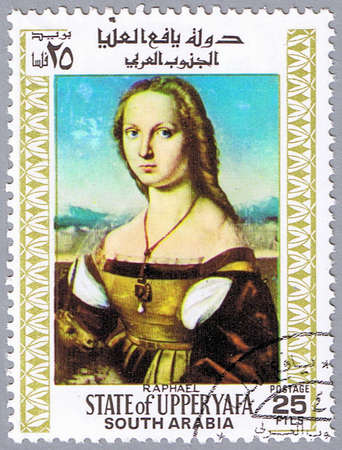 renaissance woman: STATE OF UPPER YAFA - CIRCA 1967: A stamp printed in State of Upper Yafa shows painting of Raphael - Portrait of Young Woman with Unicorn, series, circa 1967
