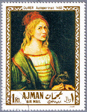durer: AJMAN - CIRCA 1968: A stamp printed in Ajman shows painting of Albrecht Durer - Self-Portrait, series, circa 1968