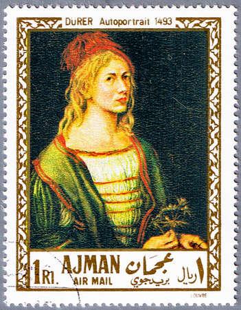 durer: AJMAN - CIRCA 1968: Un timbro stampato in Ajman mostra pittura della serie Albrecht Durer - autoritratto, intorno al 1968