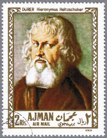 durer: AJMAN - CIRCA 1968: A stamp printed in Ajman shows painting of Albrecht Durer - Portrait of Hieronymus Holtzschuher, series, circa 1968