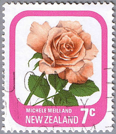 NEW ZEALAND - CIRCA 1975: A stamp printed in New Zealand shows Michele Meilland, series devoted to roses, circa 1975 Stock Photo