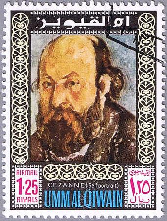 UMM AL QIWAIN - CIRCA 1967: A stamp printed in Umm al Qiwain shows a self-portrait of Cezanne, series, circa 1967 Stock Photo