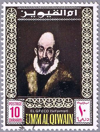 greco: UMM AL QIWAIN - CIRCA 1967: A stamp printed in Umm al Qiwain shows a self-portrait of El Greco, series, circa 1967 Stock Photo